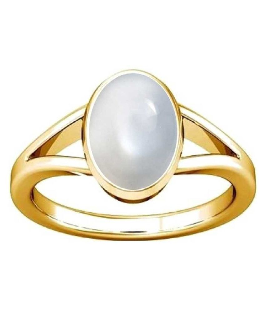 Natural MOONSTONE Stone 4 Ratti 100 Certified gold plated Ring By Kundli Gems