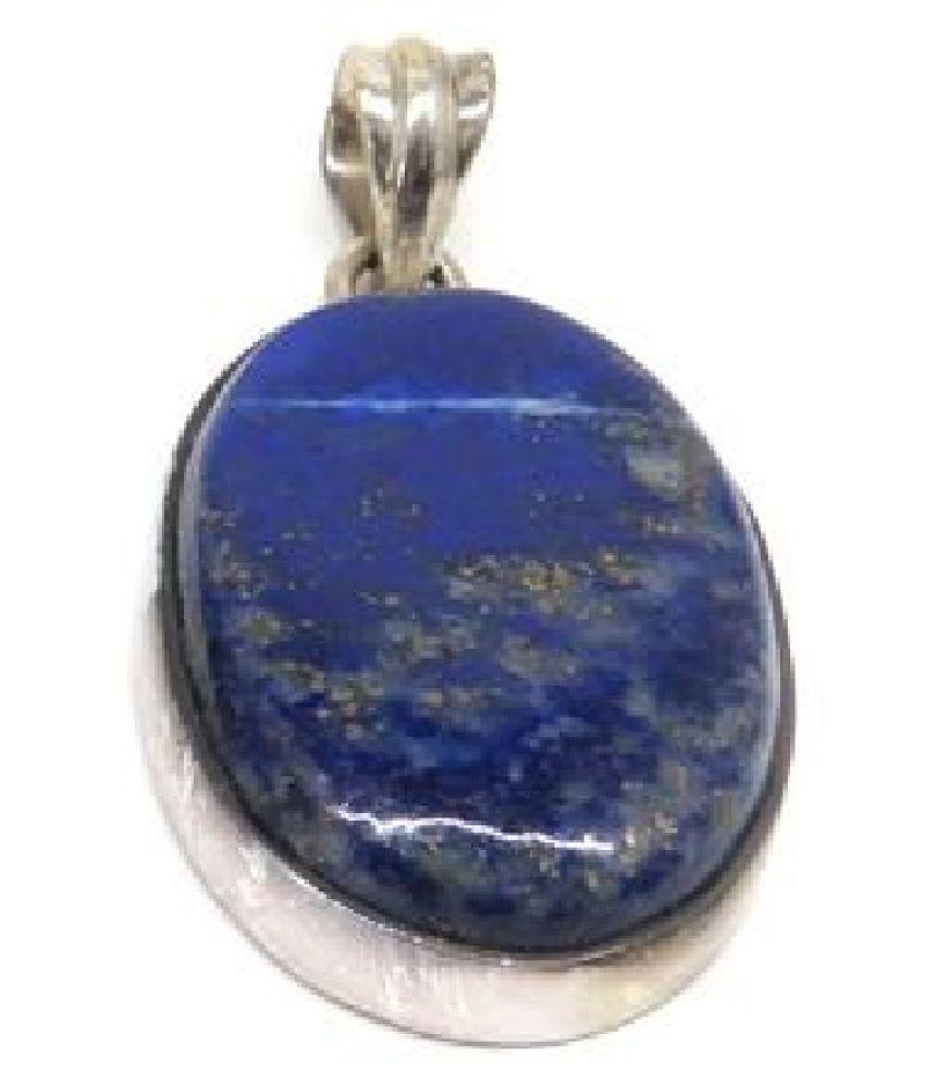 11.25 ratti stone pure lapis lazuli  silver plated Pendantfor unisex by  Ratan Bazaar\n