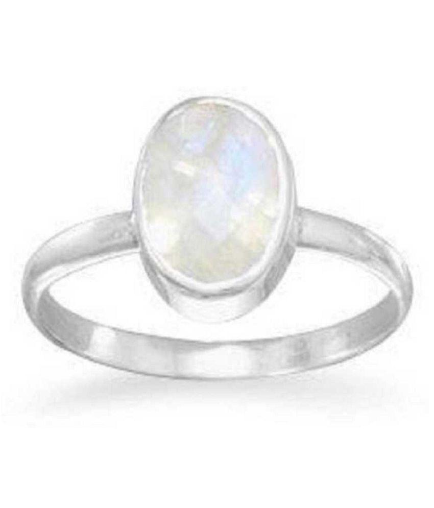 MOONSTONE  Ring 7.25 Ratti 100% Original silver MOONSTONE  Stone by Kundli Gems