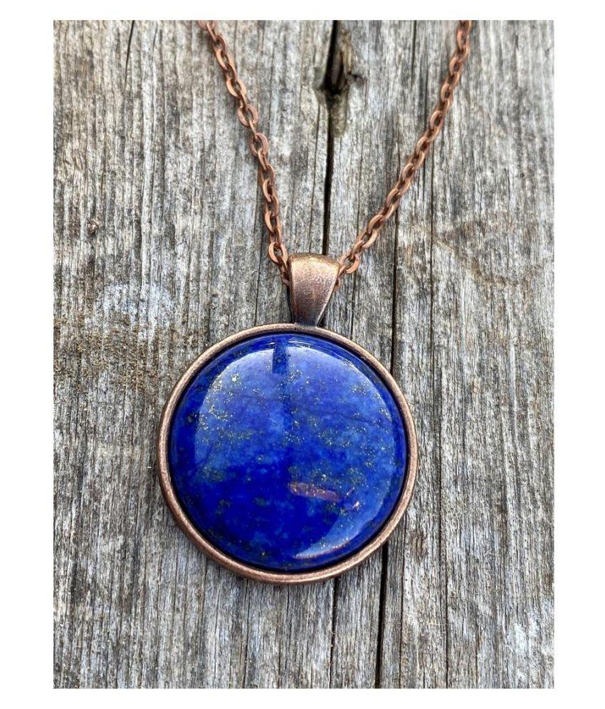 Natural Lapis lazuli Stone 11.5 Ratti 11.50 % Certified gold plated Pendant By  Ratan Bazaar