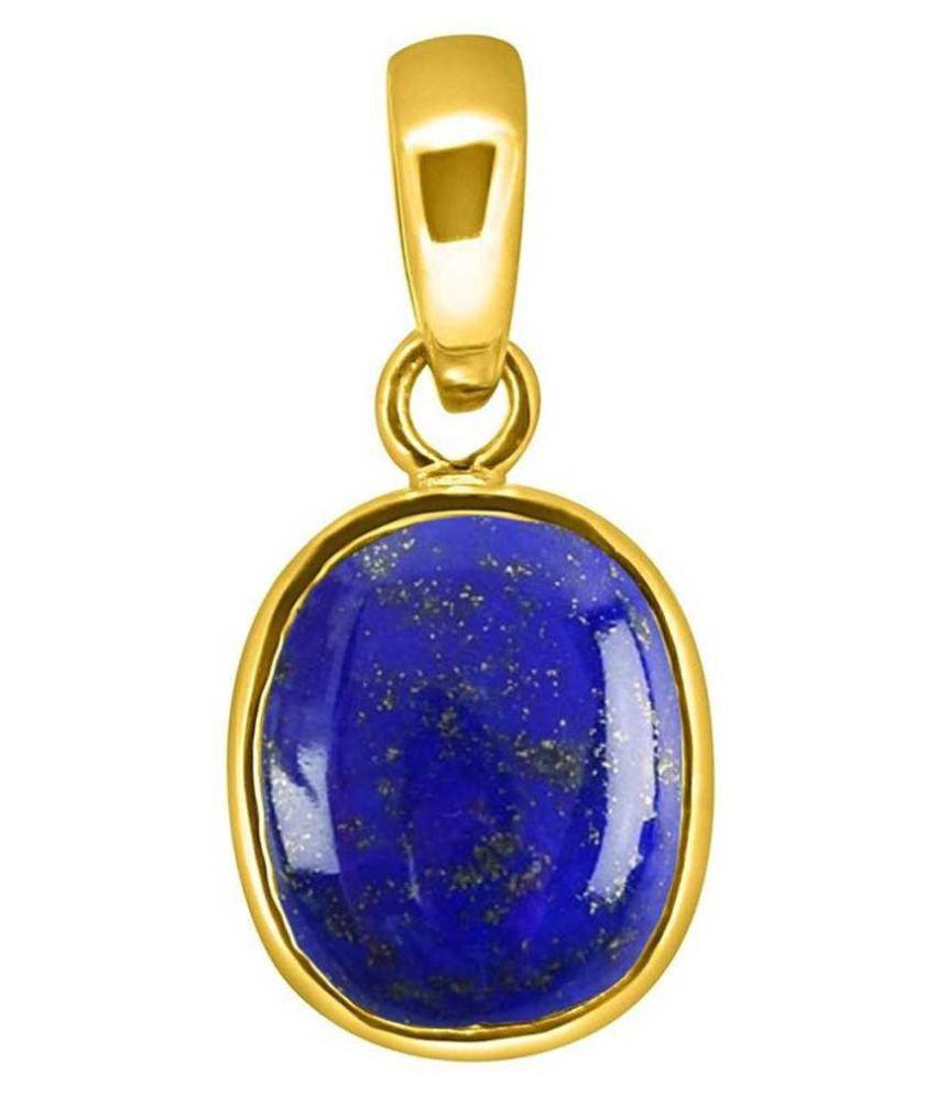 Original Created Certified Lapis lazuli Stone 11.25 Ratti  gold plated Pendant for Men & Womenby  Ratan Bazaar