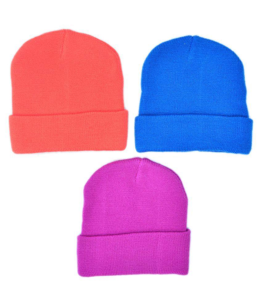 Model Kids Unisex 90% Acrylic Wool, 10% Lycra Winter Wear Cap Multi Color Combo 2