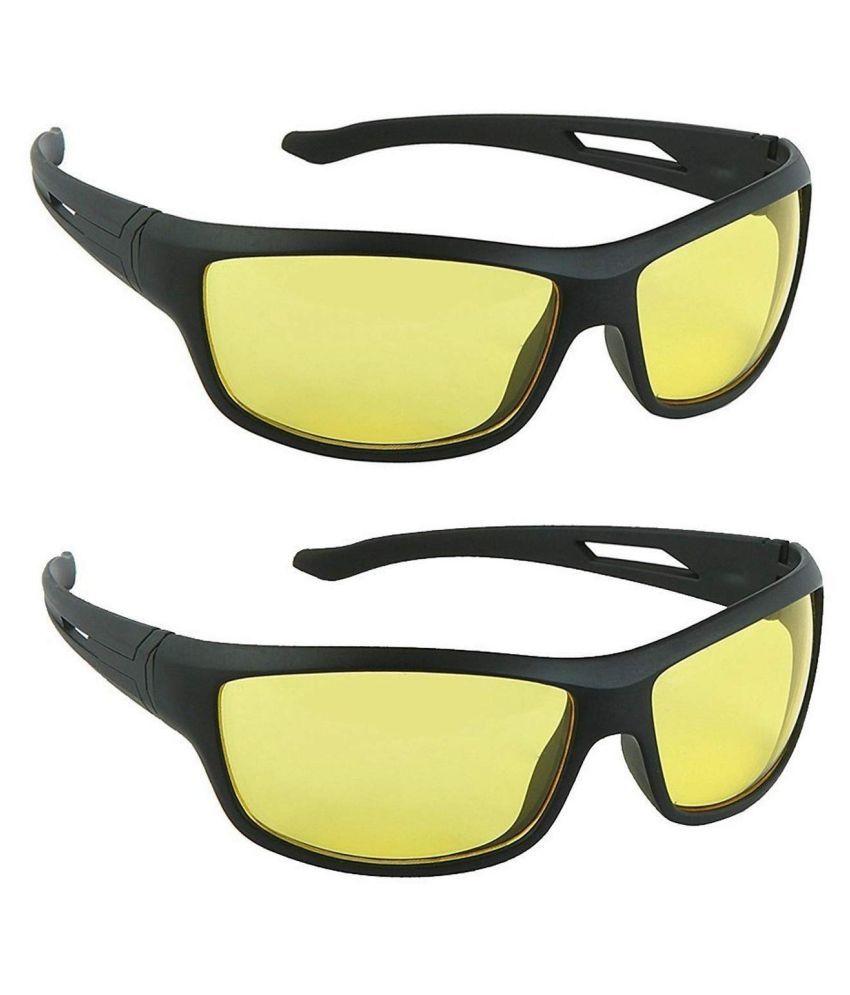 Unisex Night Vision Sunglasses p(Yellow) 2 Pcs