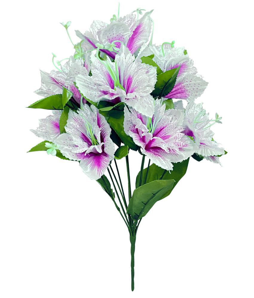 FNS Décor Artificial Purple and White Lotus Flower Bunch Lotus Bunch Multicolour Artificial Plants Bunch Fabric - Pack of 1