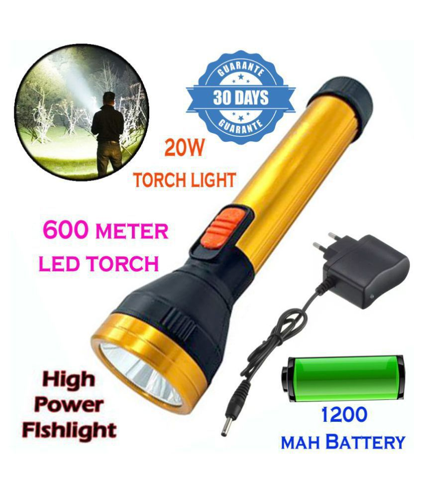 New 600mtr Rechargeable LED Waterproof Long Beam Metal Torch 20W Flashlight Torch 1200 mAh Battery - Pack of 1