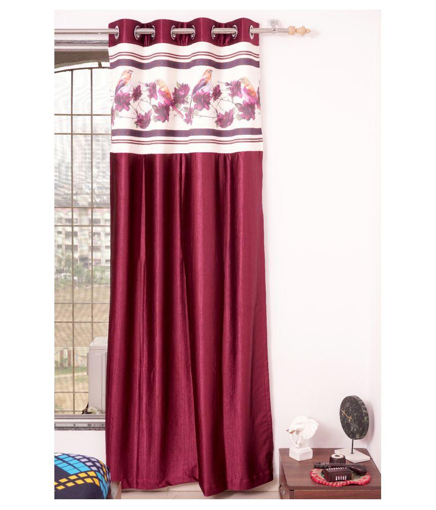 PardaOnline Single Window Blackout Room Darkening Eyelet Polyester Curtains Maroon