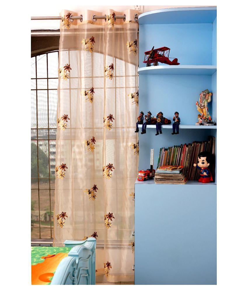 PardaOnline Single Window Semi-Transparent Eyelet Net Curtains Brown