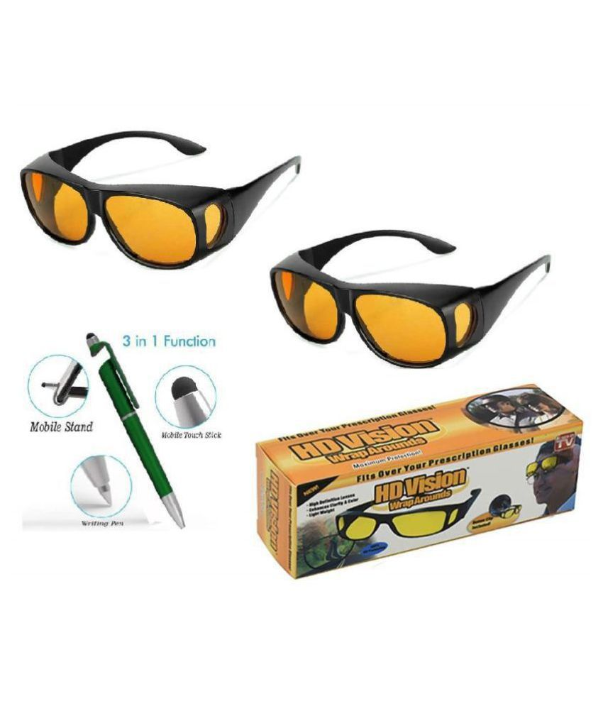 UV Protection HD Vision Wraparounds Night Sunglasses (yellow) Combo Pack With Free 3 in 1 Wipe Pen