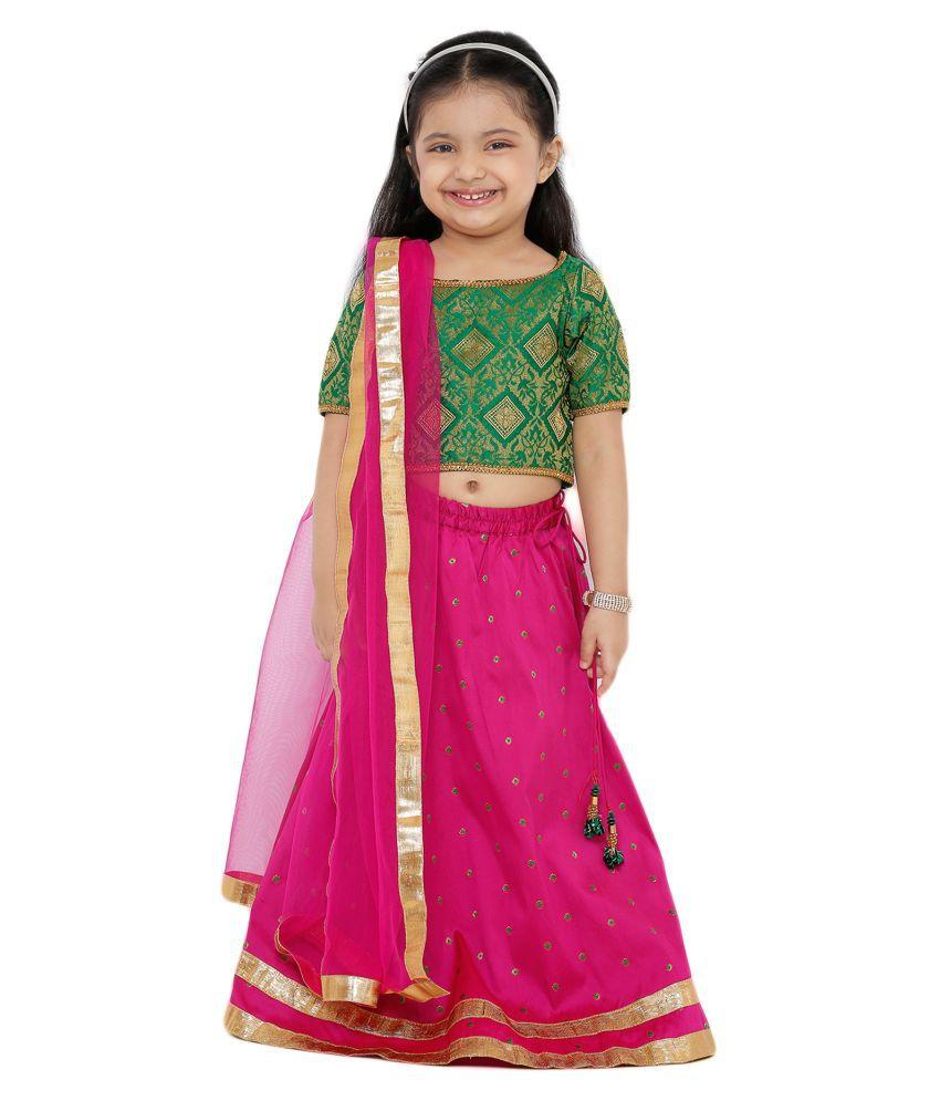 Salwar Studio Kid's Pink Art Silk Readymade Lehenga choli
