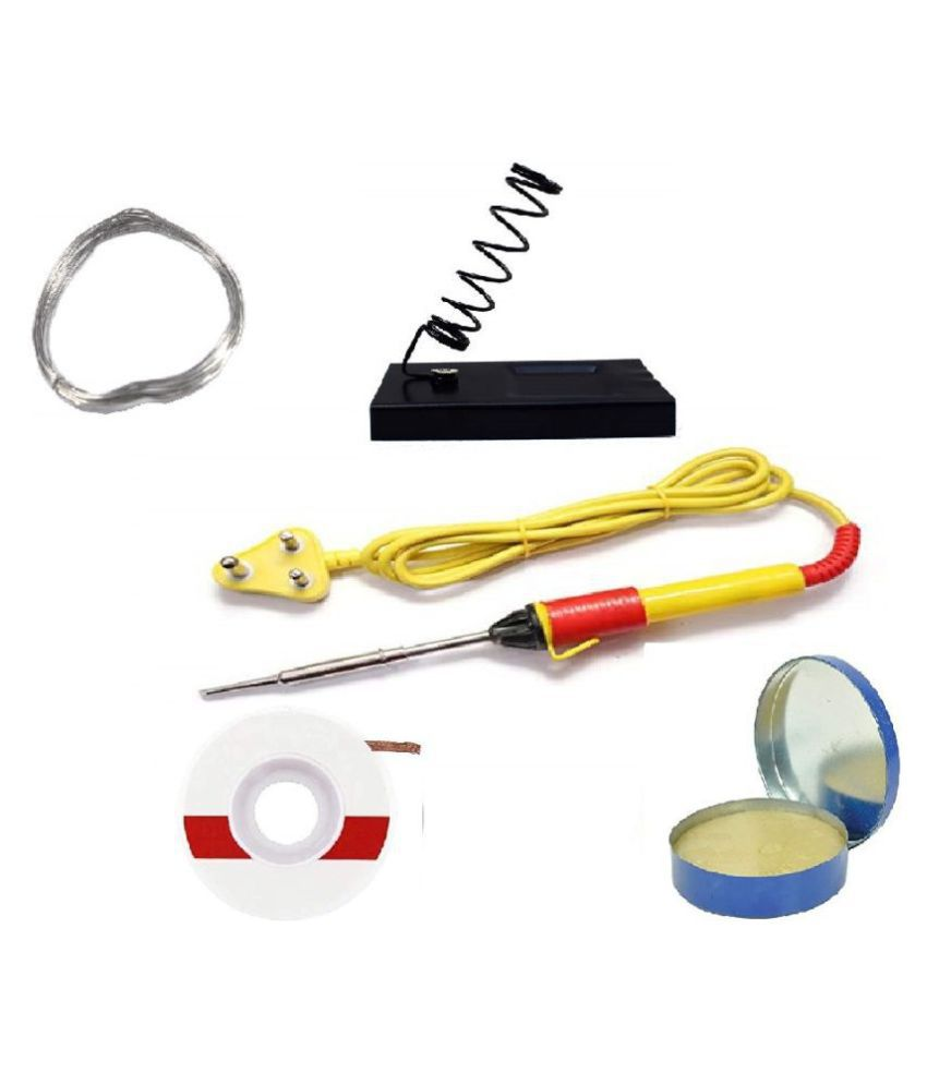 (5 in 1) High Quality 25W Soldering Kit including Soldering Iron, Soldering Wire, Flux, Iron Stand and D-Wick