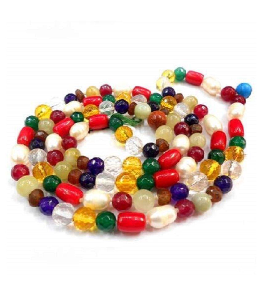 Original & Nattural Navratna Beads Mala For astrological Purpose By KUNDLI GEMS