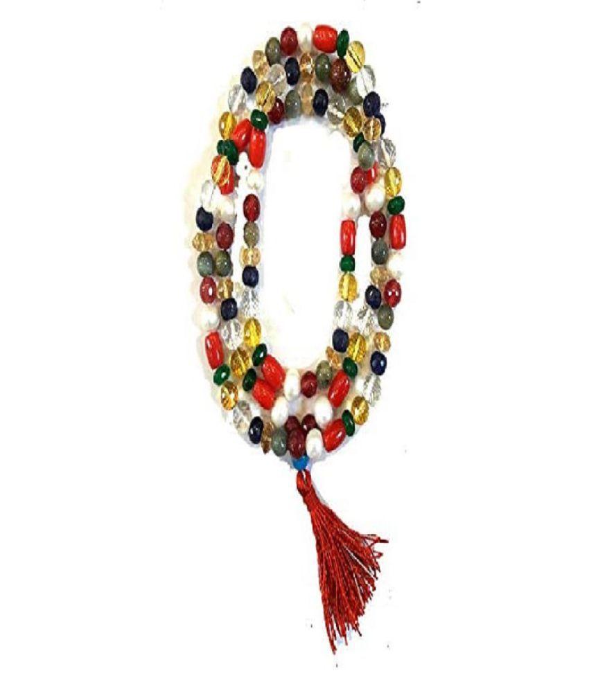 Precious Nine Stone Beads Mala Certified & Effective Gemstone Beads mala For Men & Women