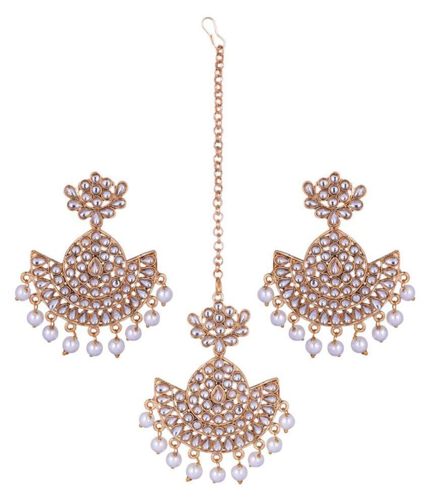Jaishree Jewels Kundan Maangtikka earrings Set for Women and Girls