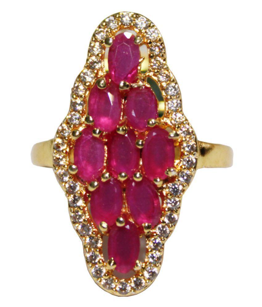 Bhanu gems Brass Gold imitation stone Ring Adjustable