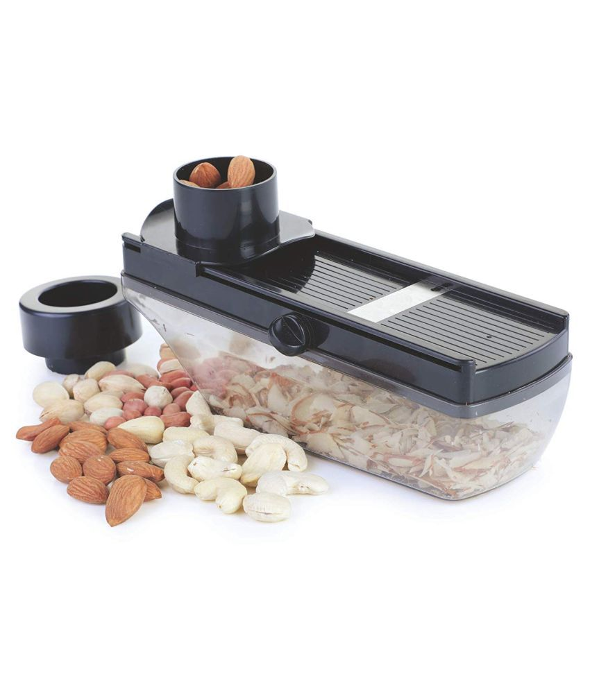 Dry Fruit and Vegetable Slicer with Hand Guard Grater Compact Plastic Cutter with Holder   Thickness Setting Container, Black
