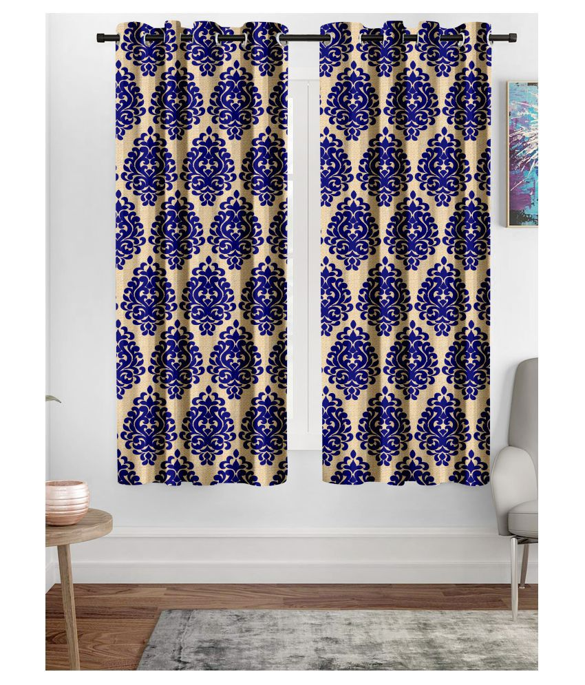 Hometique Single Window Semi-Transparent Eyelet Polyester Curtains Blue
