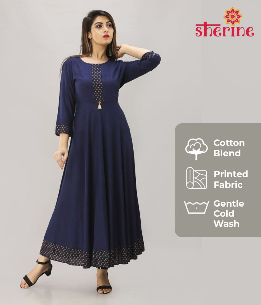 Sherine Blue Cotton Anarkali Kurti