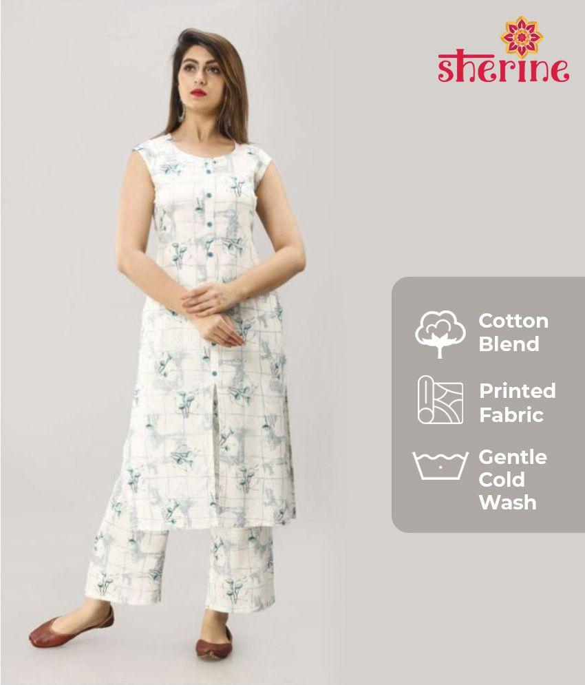 SHERINE Cotton Kurti With Palazzo - Stitched Suit MAHAGEETA