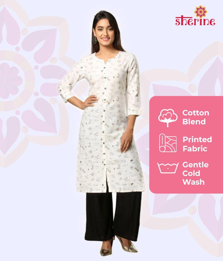 SHERINE White Cotton straight  Mahageeta Kurti