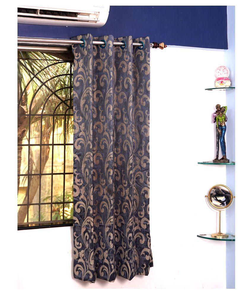 PardaOnline Single Window Semi-Transparent Eyelet Polyester Curtains Navy Blue