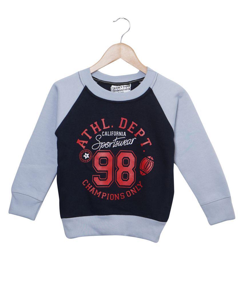 Rabbit Pocket Kid's Sky Blue Full Sleeves Printed Round Neck Sweatshirt