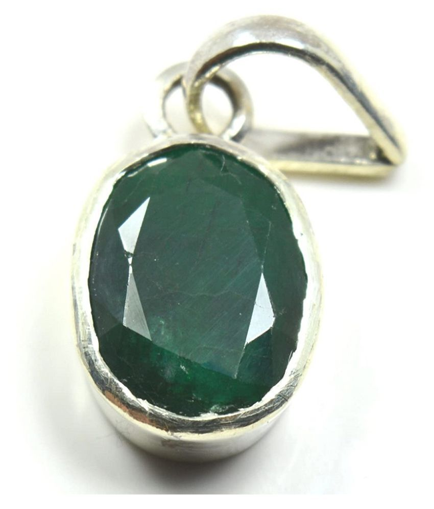 KUNDLI GEMS - 5 Carat Emerald Pandent  with natural lab certified stone Stone Sterling  Silver Plated Pandent