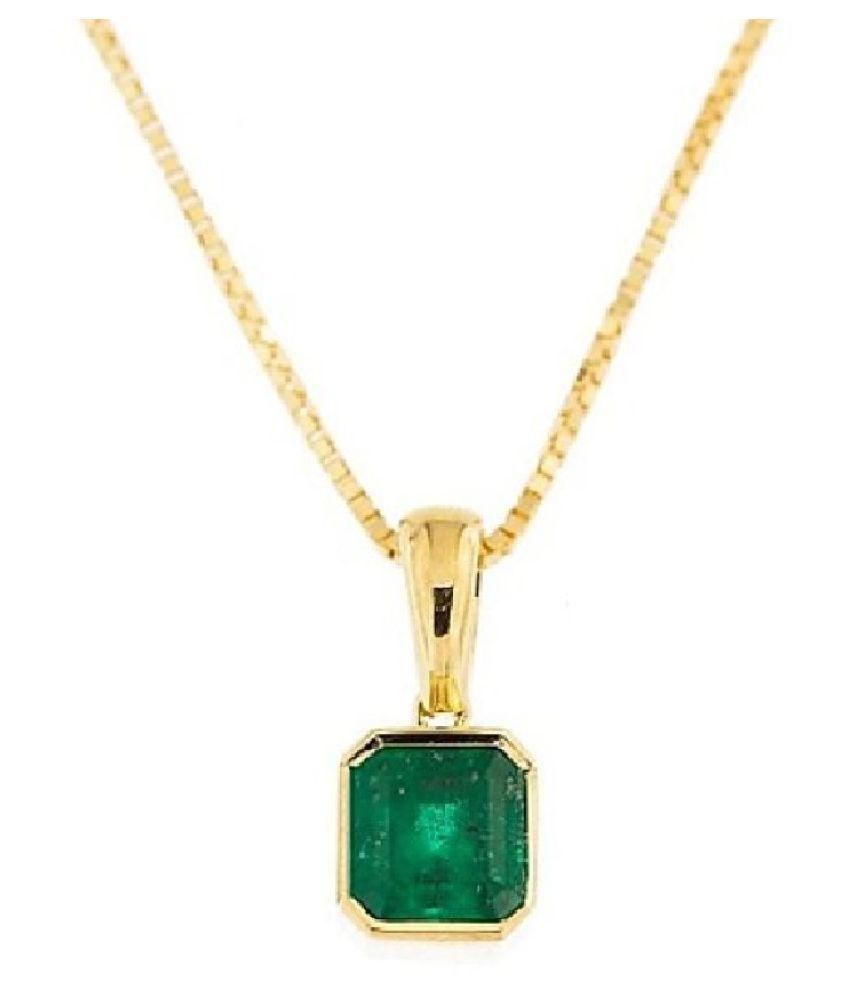 KUNDLI GEMS - 7.75 carat natural stone Emerald gold plated Pendant(panchdhatu Pendant) Original stone Pendant for unisex