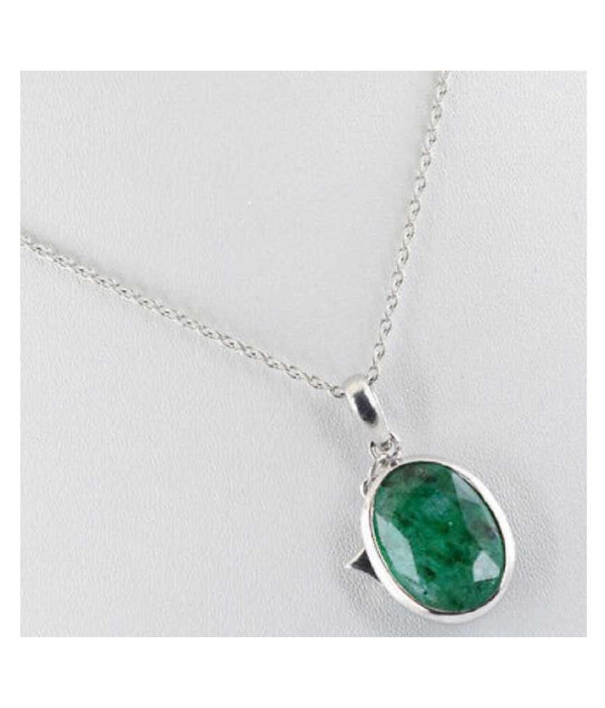 KUNDLI GEMS -   Natural Emerald Sterling  Pendant  7.25 Ratti Certified Pendant Stone for Men and Women