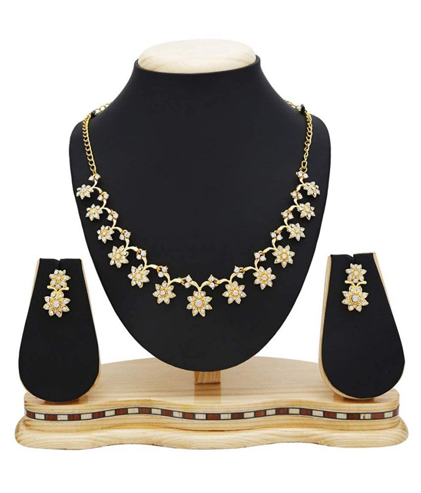Kord Store Alloy Golden Matinee Contemporary/Fashion Gold Plated Necklaces Set