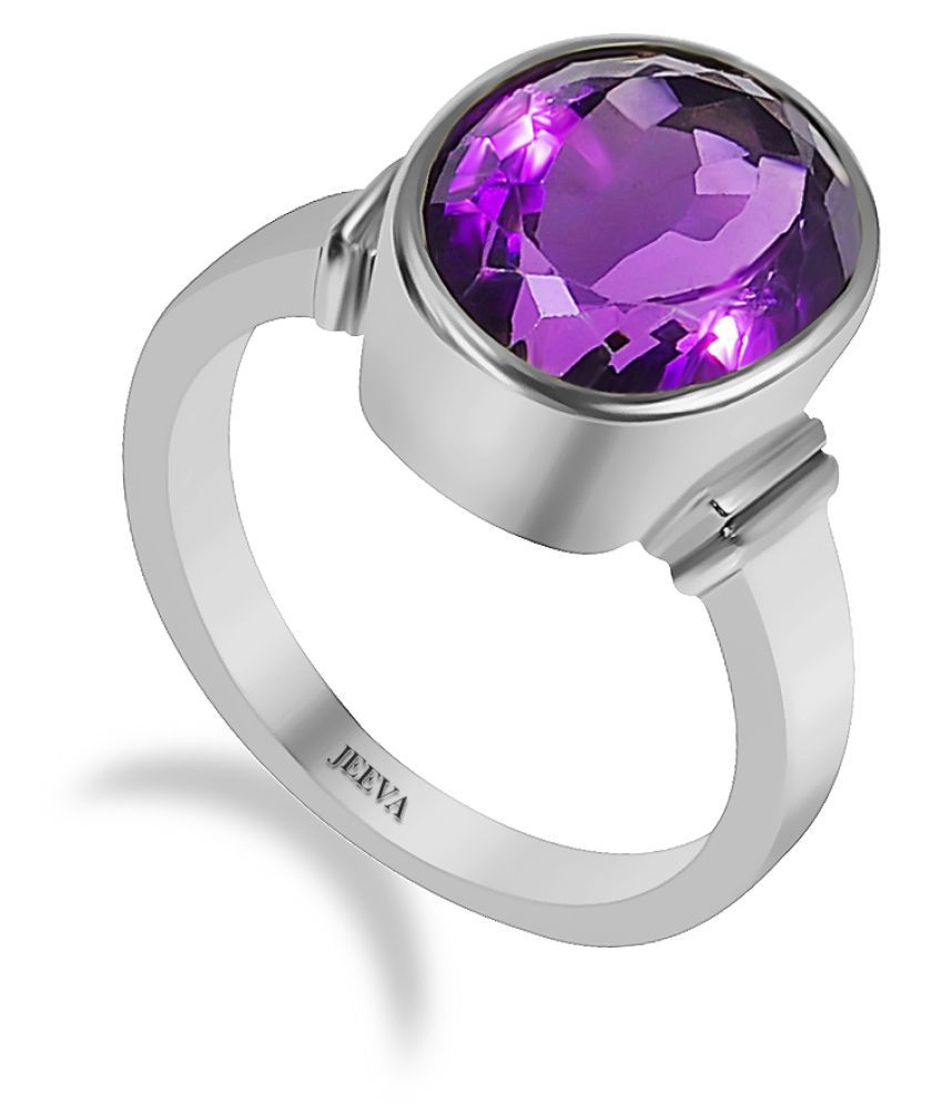 Jeeva certified natural Amethyst 3.25 Ratti or 2.93 Cts stone ring in 9.25 silver metal