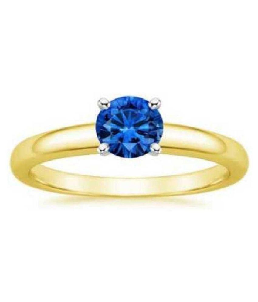 Ratan Bazaar - Gold Plated Blue sapphire Stone Ring 7.25 carat for Women & Men