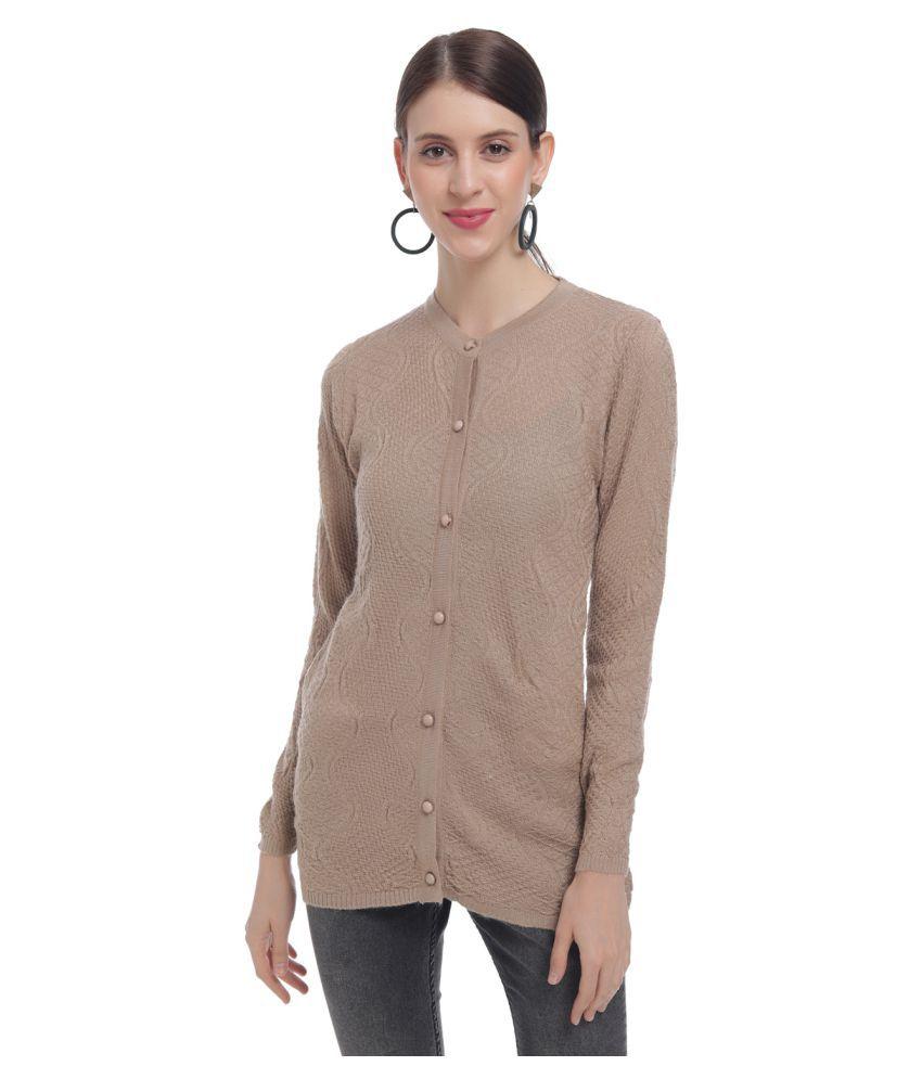 HaltonHills Acrylic Brown Buttoned Cardigans