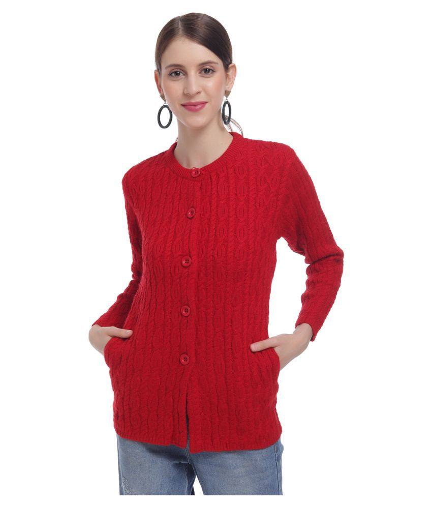 HaltonHills Acrylic Red Buttoned Cardigans