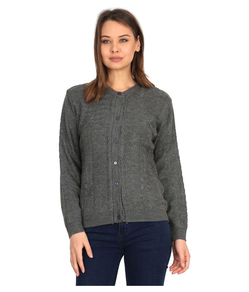 Urban Studio Woollen Grey Non Zippered Sweatshirt