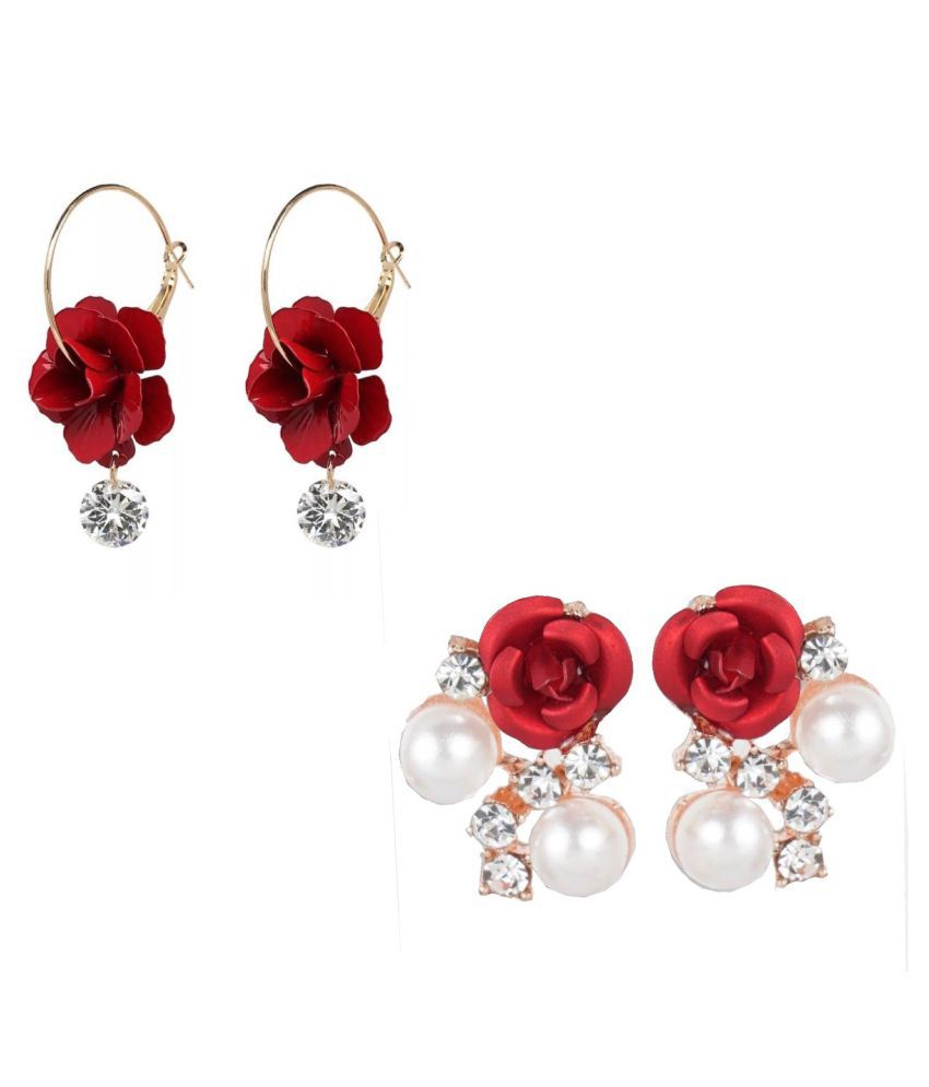 Combo of Floral  Pearl Studs and Hoop Earrings