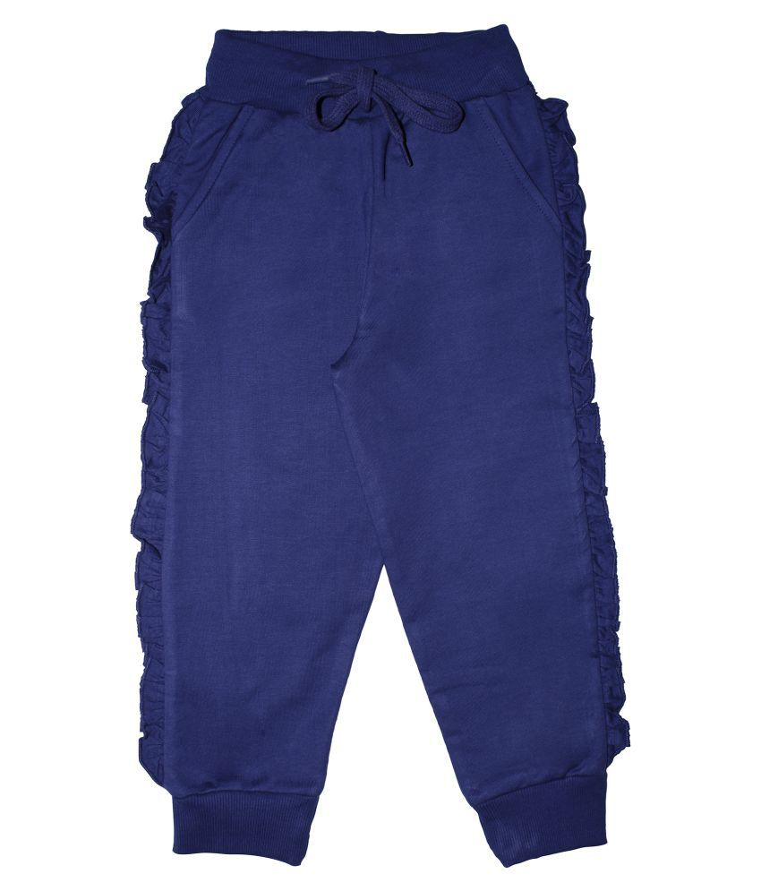 Girls Fleece Solid Track pant with Side Frill Tape
