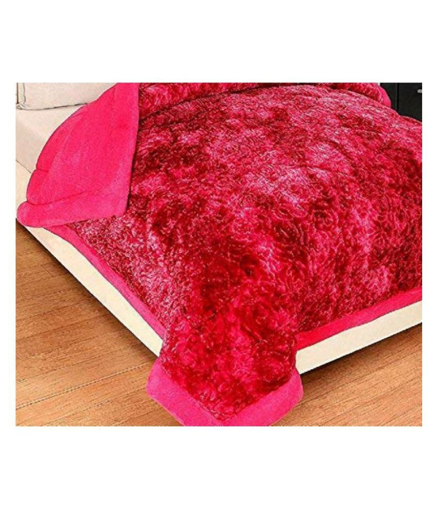 Koli trading co Queen Poly Flannel Pink Printed Quilt Coordinated