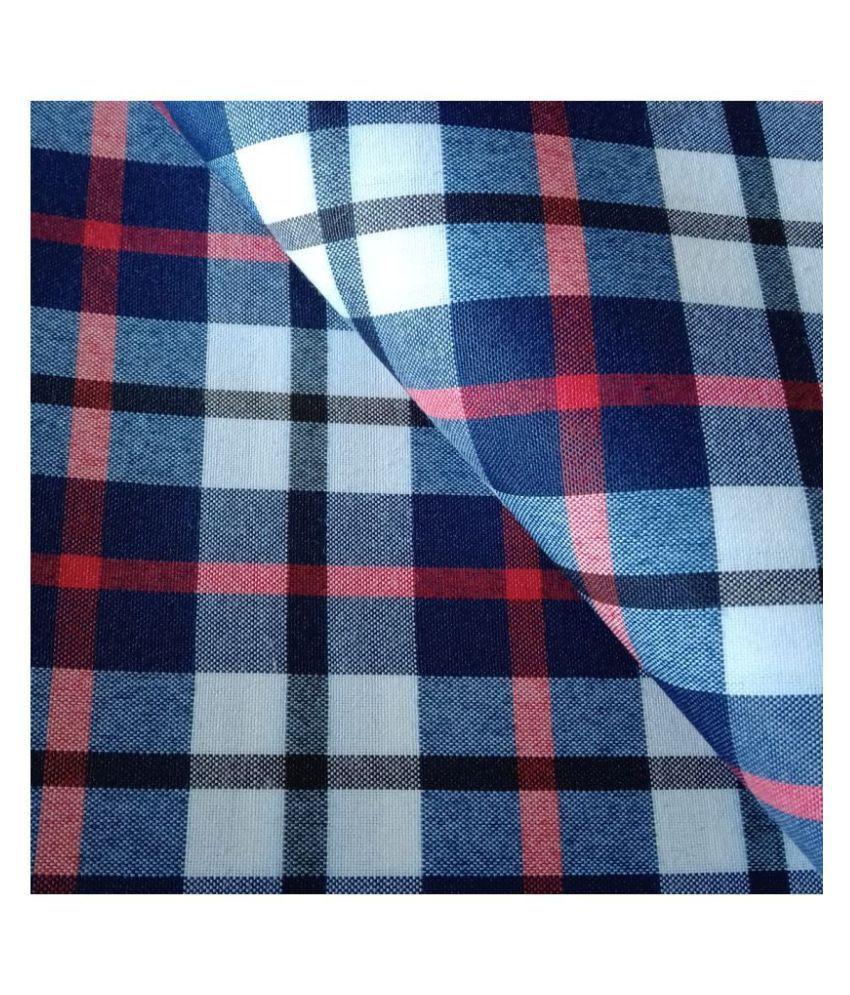 Makhanchor Blue 100 Percent Cotton Unstitched Shirt pc Single