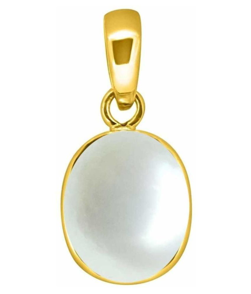 Moti Pendant 7 ratti Natural Pearl Gold Plated Pendantwithout chain by Kundli Gems