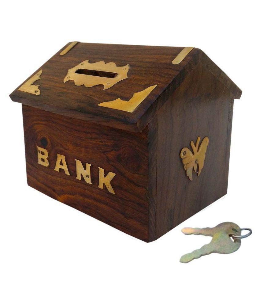 Wooden hut Shaped Money Bank/ Gullak /Coin Box/ Piggy bank