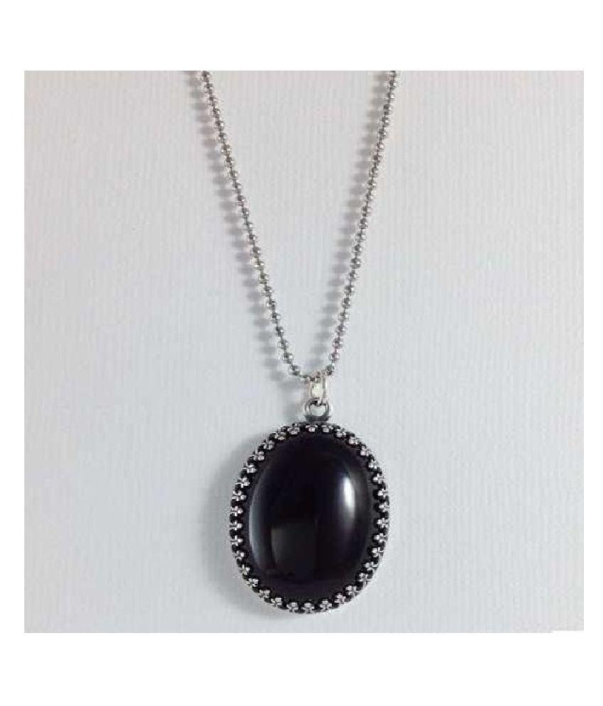 5.5 Carat Black Sulemani Hakik moti Pendant with lab Report Silver Sulemani Hakik Stone without chain by Ratan Bazaar