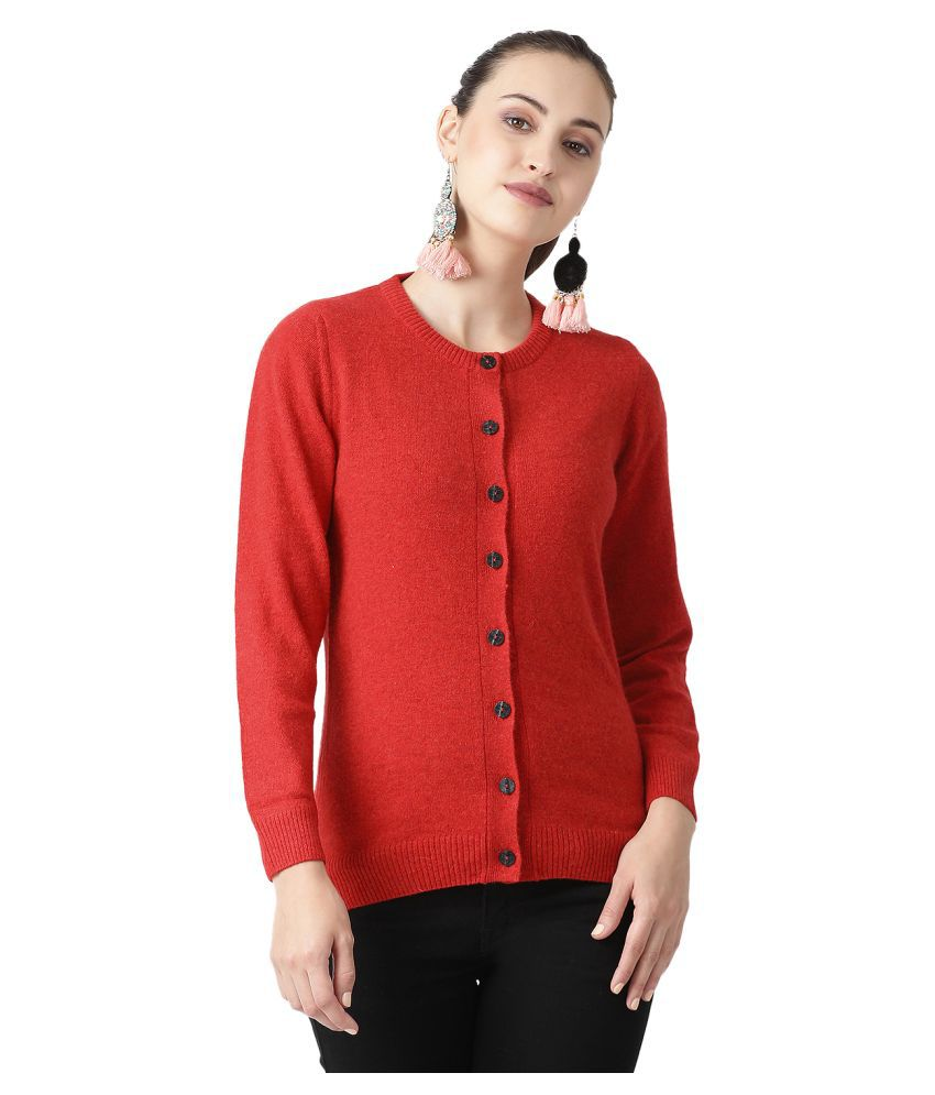 Monte Carlo Pure Wool Red Buttoned Cardigans
