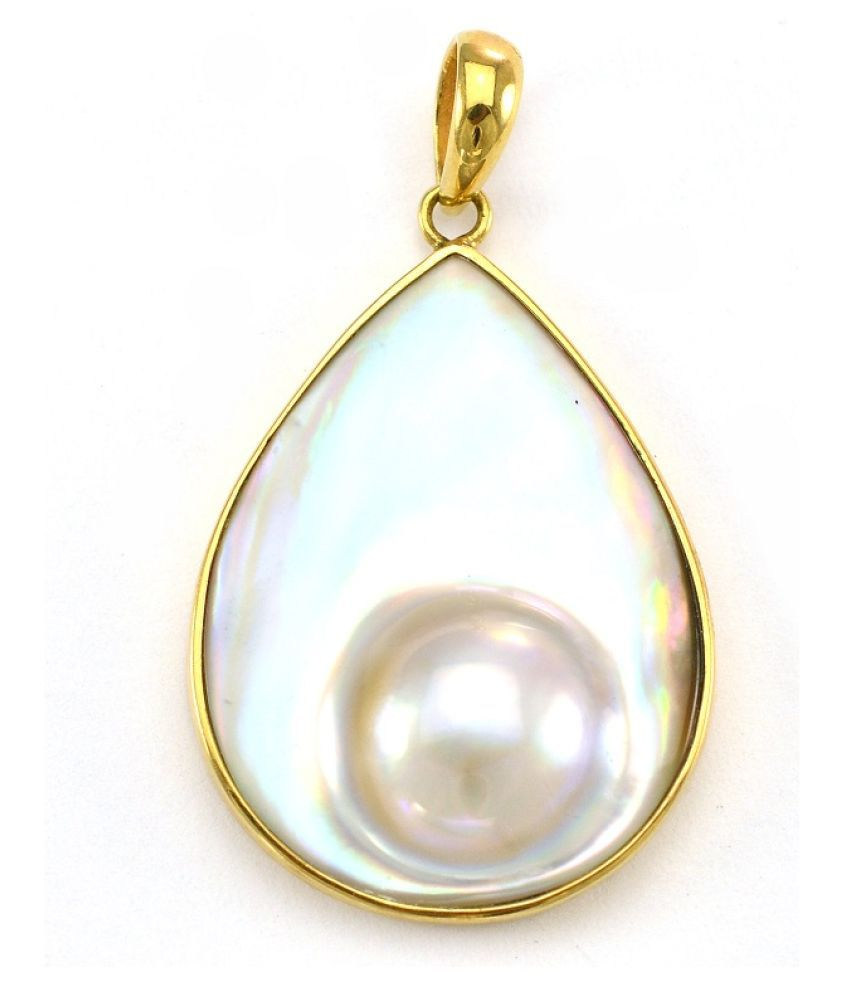 Natural Pearl 9.25 Carat   Gold Plated Pendant without chain  by Ratan Bazaar\n