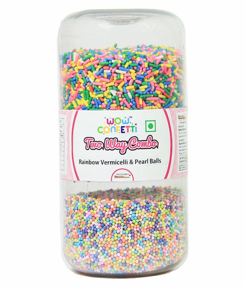 Wow confetti 2 Way Combo Jar Vermicelli Rainbow& Pearl Balls, 300 g