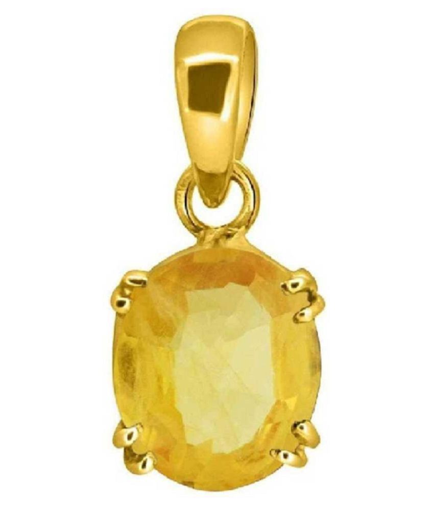 100% Natural 5 carat Yellow Sapphire (Pukhraj) Gold Plated Pendant without chain by Ratan Bazaar\n