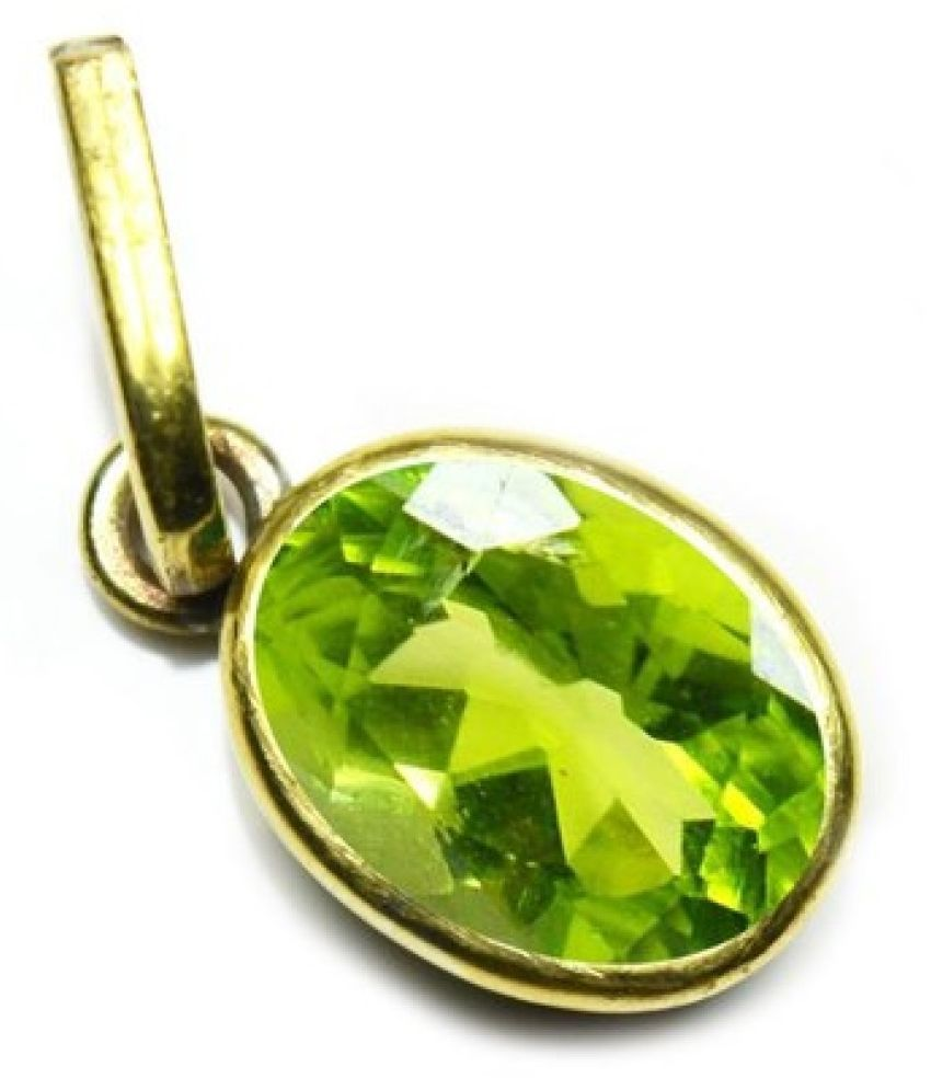 5.5 Carat Stone Peridot Gold Plated Pendant without chain for unisex by Ratan Bazaar\n