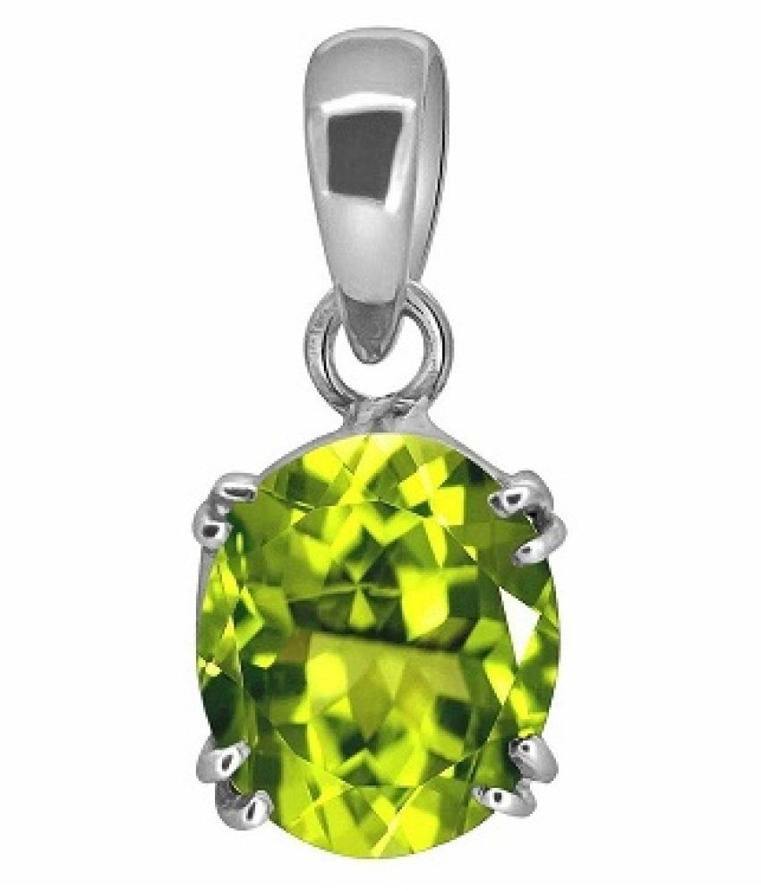 5 RATTI  Silver Adjustable Peridot Pendant without chain by Ratan Bazaar\n