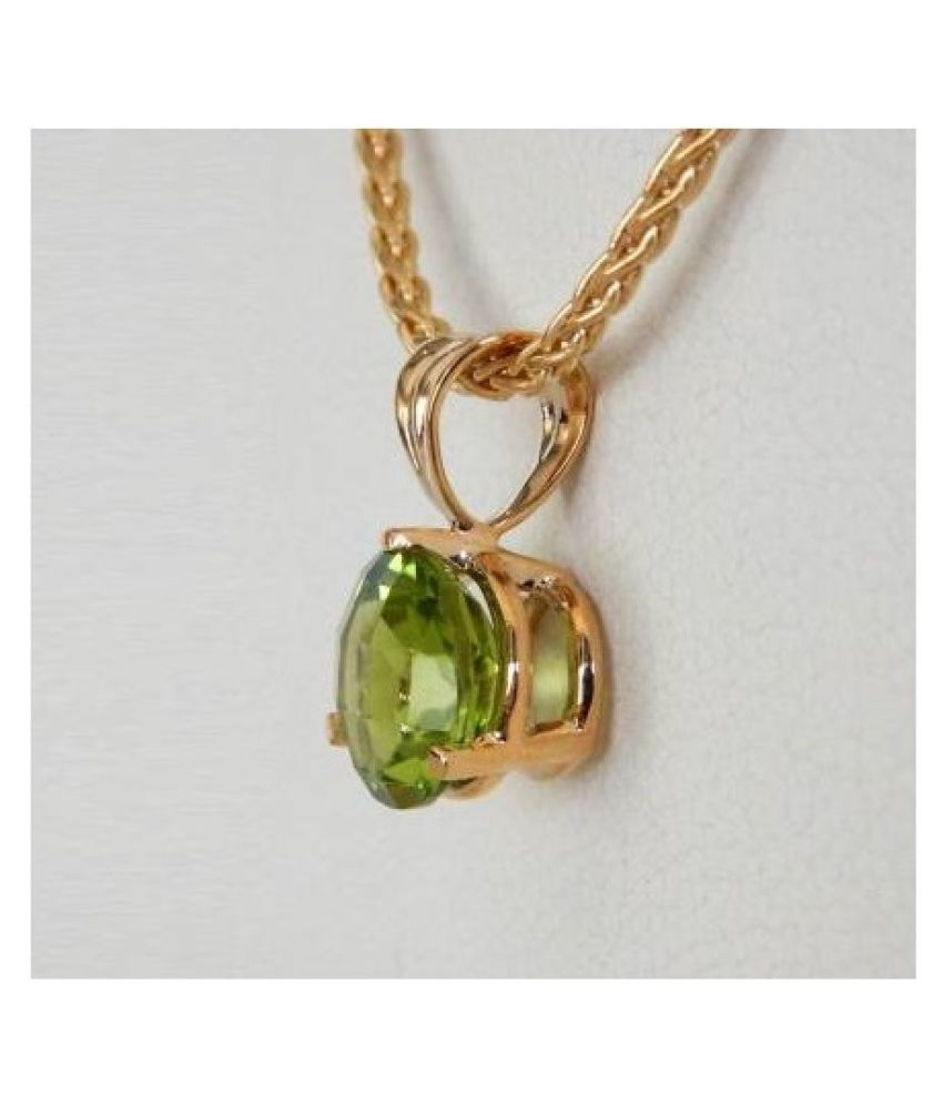 7 RATTI Gold Plated Adjustable Peridot Pendant without chain by Ratan Bazaar\n