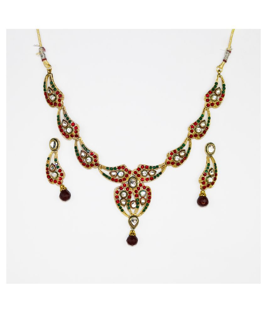 Abhiroopa Alloy Multi Color Choker Contemporary/Fashion Gold Plated Necklaces Set
