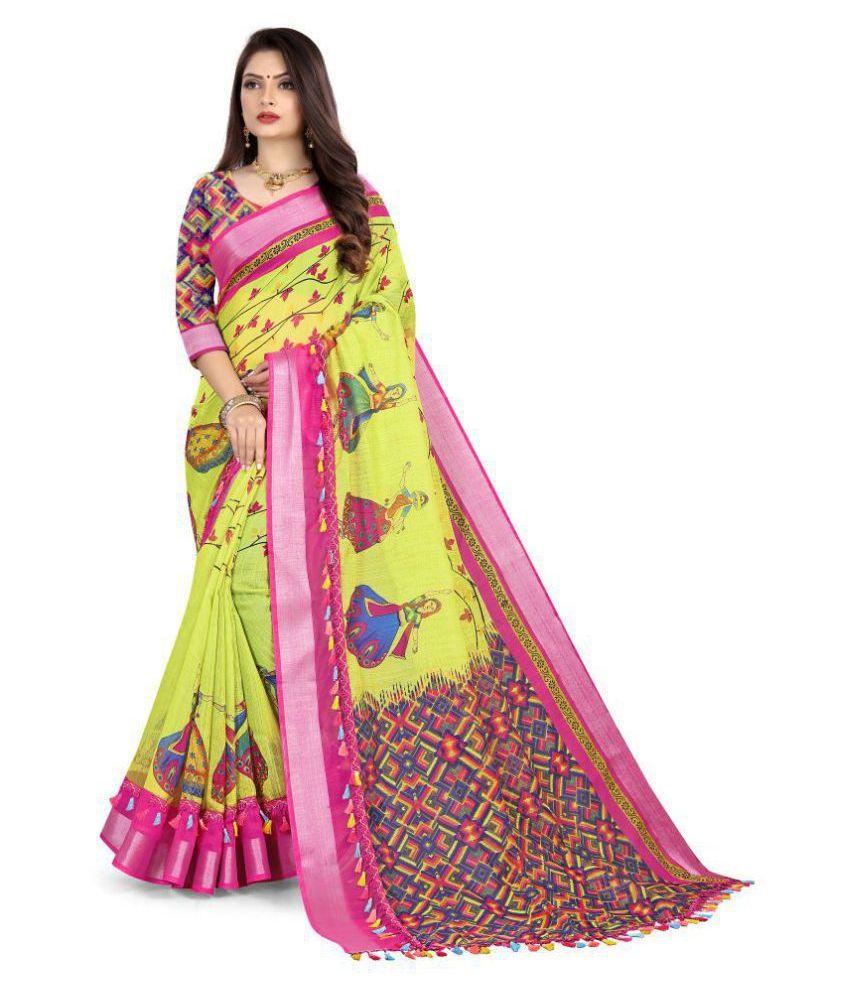Dealseven Fashion Green Cotton Saree